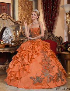 Strapless Embroidery Orange Ball Gown for Girls 15th Birthday
