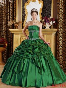 Floor Length Green Quinceanera Gown Strapless Pick-ups Beading