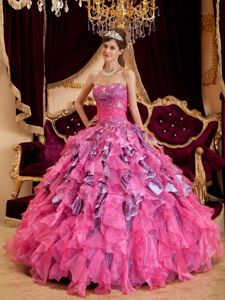 Multi-color Leopard Quinceanera Dress Sweetheart Beading Ruffles