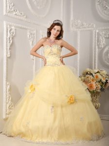 Beading Appliques Light Yellow Quinceanera Dress Handle Flowers
