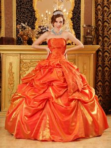 Orange Strapless Printed Quinceanera Pick-ups Hand Made Flowers