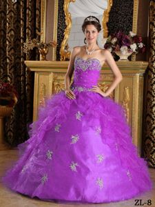 Beading Appliques Lilac Quinceanera Dress with Organza Ruffle