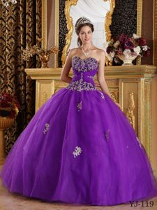 Tulle Appliques Sweetheart Purple Quinceanera Dress for Girls