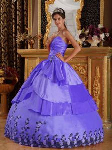 Appliques Sweetheart Slate Blue Quinceanera Gown with Ruche