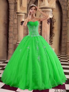 Spring Green Sweetheart Beading Quinceanera Dress for sweet 15
