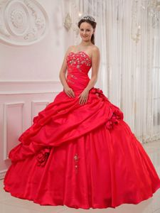 Hand Made Flowers Appliques Red Quinceanera Dress Sweetheart
