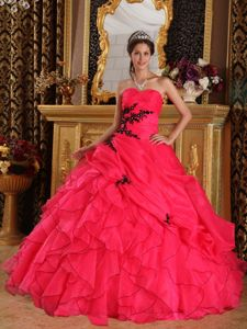 Appliques and Ruffles Accent Dress for a Quinceanera in Coral Red