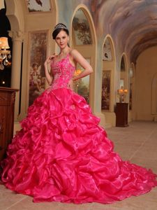 Embroidered Hot Pink v Neck Sweet Sixteen Dresses with Court Train