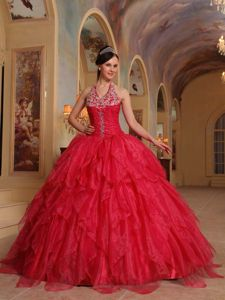 Red Halter Organza Embroidery and Ruffled Sweet Sixteen Dresses