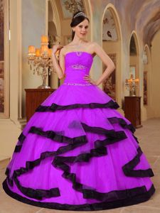 Strapless Beading Black Frills Quinceanera Gown Dresses