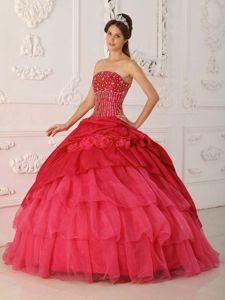 Red Taffeta and Organza Quinceanera Dresses with Beading Ruffles