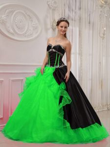 Appliqued and Flounced Quinceanera Gowns Dresses in Black and Green