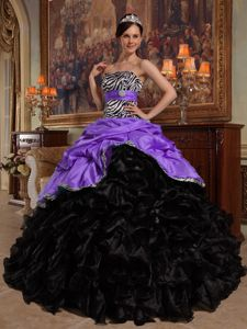 Ruffled Lavender and Black Dresses Quinceanera with Zebra Print