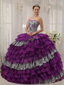 Zebra Print Purple Organza Dresses Quinceanera with Ruffled Layers