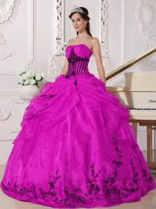 Black Embroidery Accent Fuchsia Strapless Dresses Quinceanera