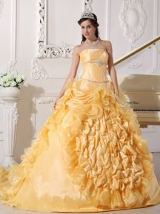 Beaded and Ruffled Strapless Gold Quinceanera Dresses Gown 2013