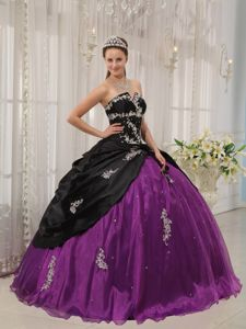 Appliqued Strapless Quinceanera Dresses Gowns in Black and Purple