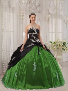 Black and Green Strapless Appliqued Quinceanera Dresses Gowns
