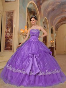 Bowknots Beading Lavender Quinceanera Dresses Gowns with Sequins