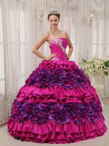 Appliqued Ruched Fuchsia Dress for Quinceanera with Puffy Ruffles for Julia Roberts