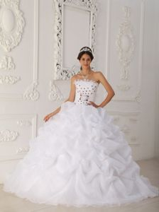White Organza Strapless Dress for Quinceanera with Red Flowers