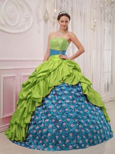 Beaded Spring Green and Blue Dresses for 15 of Strapless 2014