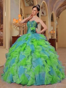 2013 Colorful Sweetheart Dresses for 15 with Beading and Ruffles