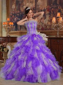 Appliques and Ruffles Accent Lavender Dresses for A Quince 2013