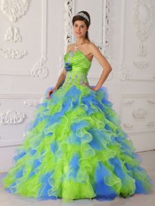 2013 New Colorful Appliqued Dresses for A Quince with Ruffles