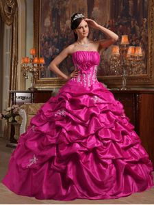 Ruched Fuchsia Dresses for A Quince with Flower and Pick ups
