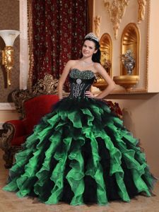 Popular Colorful Dresses for A Quince with Beading and Ruffles