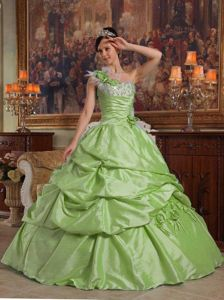 Flowery One Shoulder Dresses for A Quinceanera in Yellow Green