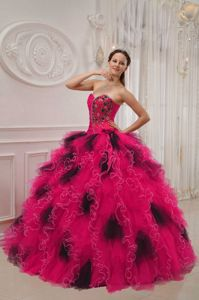 Greta Garbo Fuchsia and Black Dresses for A Quinceanera with Ruffles Beading