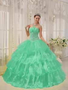 Beaded Apple Green Organza Dresses for A Quinceanera with Flowers