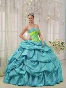 Beading and Pick ups Accent Blue Taffeta Dress for a Quinceanera