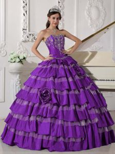 Embroidered Purple Sweet Sixteen Quinceanera Dresses with Ruffles