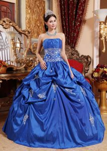 Appliques and Pick ups Blue Sweet Sixteen Quinceanera Dresses