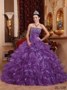 Beaded Bodice Purple Quinceanera Gown Dresses with Puffy Ruffles