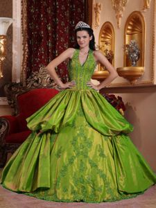 Olive Green Halter Quinceanera Gown Dresses with Pick ups Appliques