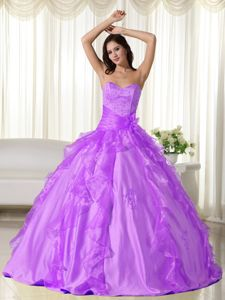 Appliqued and Ruffled Sweetheart Lavender Quinceanera Gown Dress