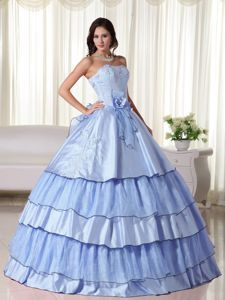 Flowers Ruffled Layers Accent Quinceanera Gown Dress in Light Blue