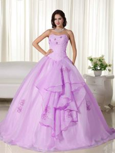 Embroidered Strapless Organza Quinceanera Gown with Ruffles