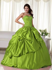 Olive Green Taffeta Quinceanera Gown with Appliques and Pick ups