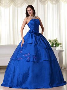 Embroidery and Flowers Accent Quinceanera Gowns in Royal Blue
