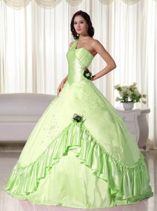 Flowery One Shoulder Flouncing Quinceanera Gowns in Bud Green