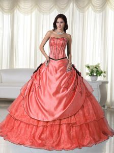 Flowery Frilly Taffeta and Organza Watermelon Quinceanera Gown
