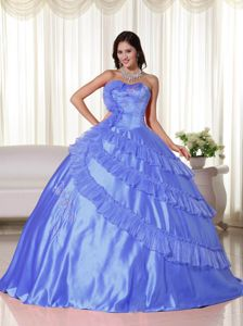 Embroidered Blue Ball Gown Quinces Dresses with Strapless Ruffles