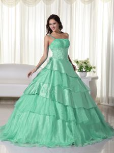 Appliqued and Ruffled One Shoulder Quinces Dresses in Apple Green