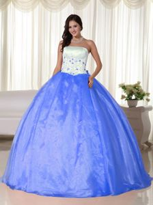 White and Blue Strapless Quinces Dresses with Beautiful Embroidery