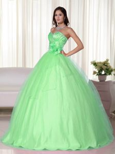 Beading and Ruches Accent Spring Green Flowery Quinces Dresses